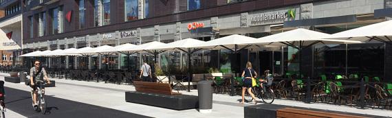 Triangeln i Malmö, med  sex nya restauranger, får 18 nya parasoller