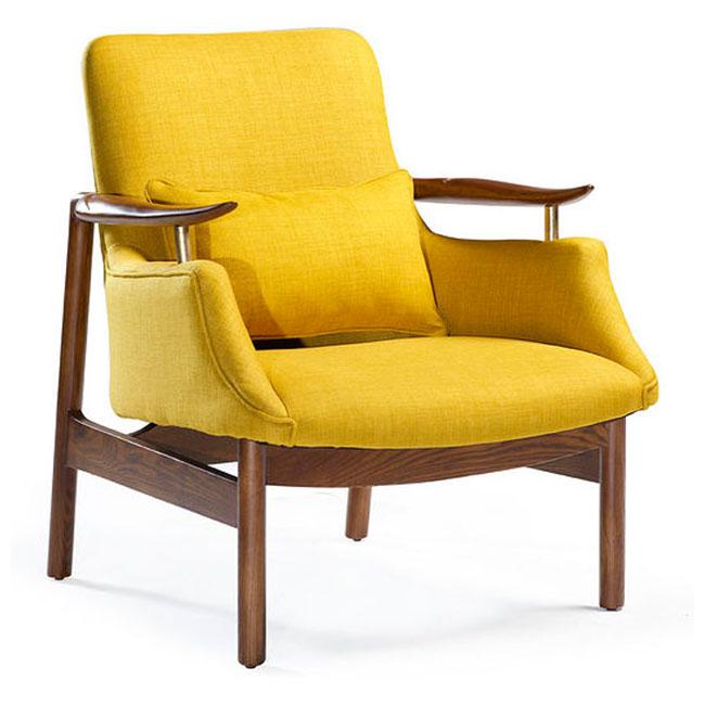 Tycho Lounge Fåtölj gult tyg VerandaUteServeringar se