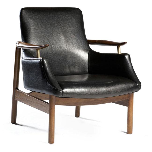 Tycho Lounge Fåtölj svart läder VerandaUteServeringar se