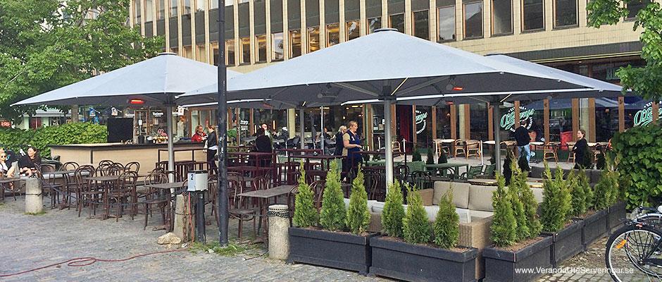 O'Learys i Västerås, täckte in sin ute-serveringsyta med Glatz Palazzo parasoller och slapp regnet!